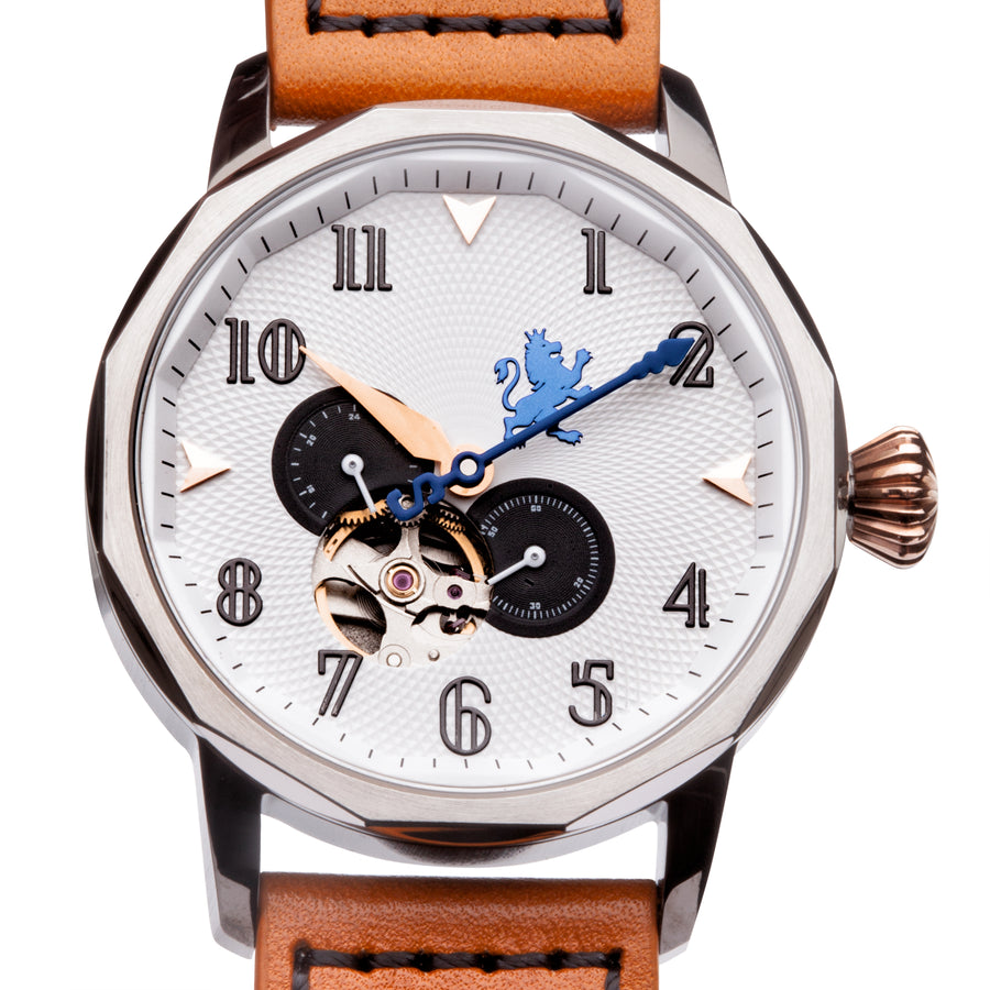 Gun Metal Steel Automatic with Burnt Orange Leather Strap - Samuel James Watches