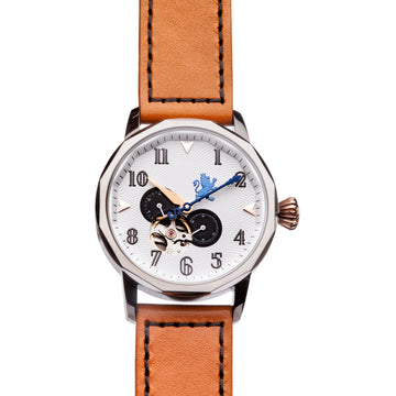 Silver Automatic Watch with Burnt Orange Leather Strap - Samuel James Watches