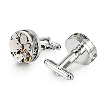 Recycled Watch Movement Cufflinks-Round - Samuel James Watches