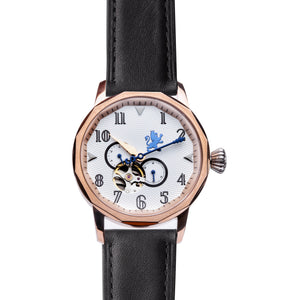 Rose Gold Steel Automatic with Black Leather Strap - Samuel James Watches