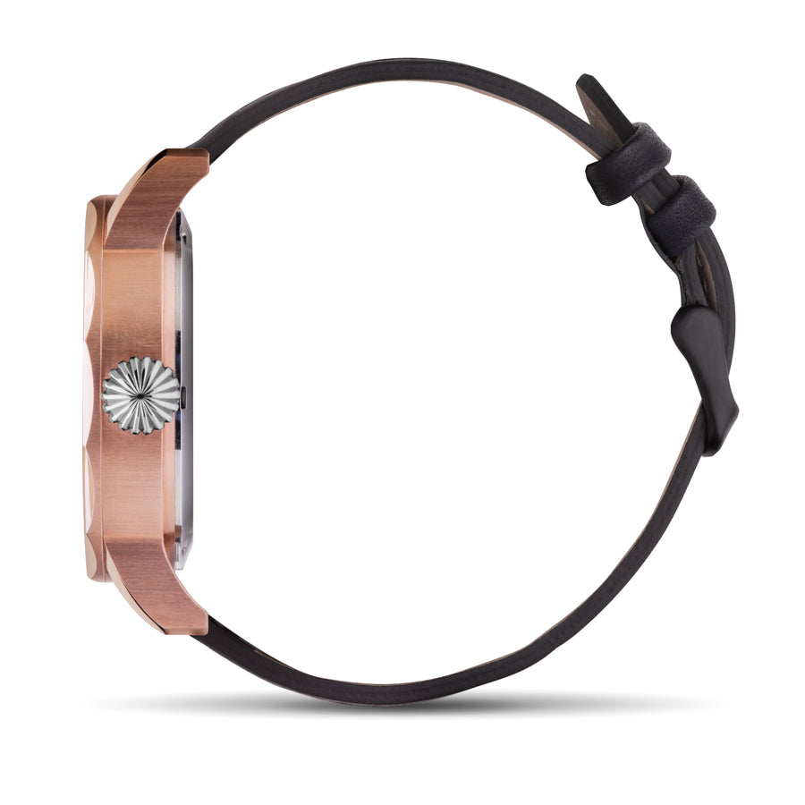 Rose Gold Steel with Black Leather - Samuel James Watches