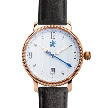 Rose Gold Watch with Matte Black Leather Strap - Samuel James Watches