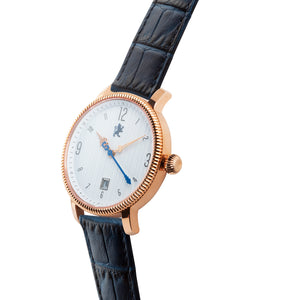Rose Gold with Royal Blue Alligator Leather - Samuel James Watches