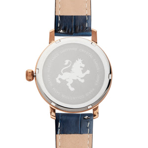 Rose Gold with Blue Alligator Leather Strap - Samuel James Watches