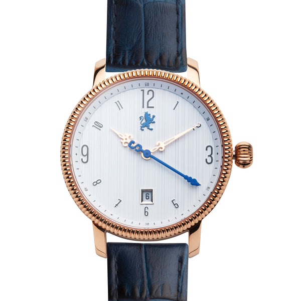 Rose Gold ladies watch with alligator blue leather band