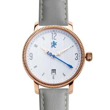 Rose Gold Watch with Slate Grey Leather Strap - Samuel James Watches