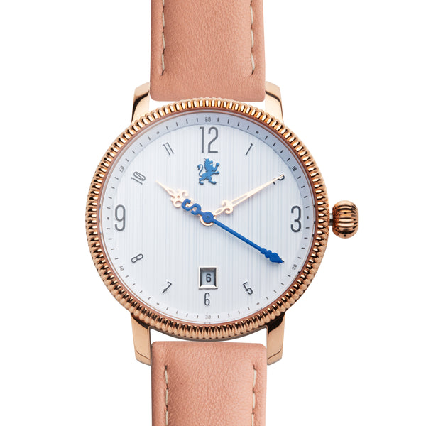 Rose Gold ladies watch with peach leather band