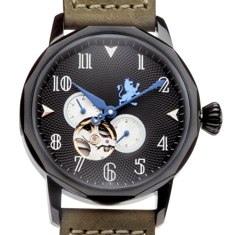 Black Steel with Pewter Grey Leather - Samuel James Watches