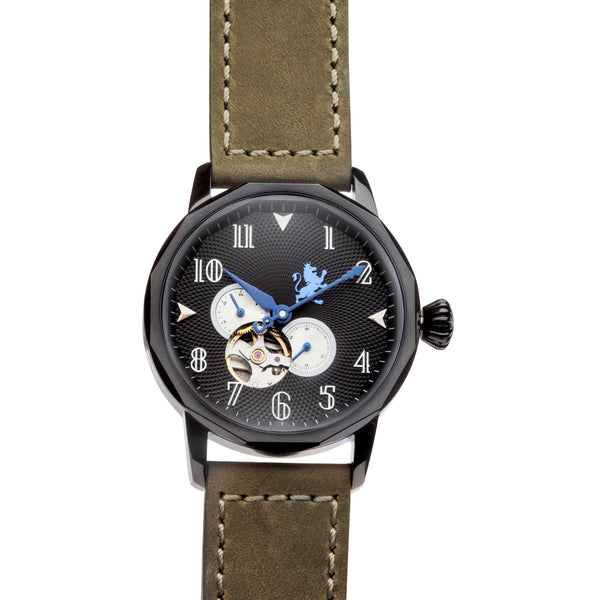 Black Steel Automatic with Pewter Grey Leather Strap - Samuel James Watches