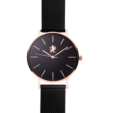 Black Rose Gold Watch with Black Mesh Bracelet - Samuel James Watches