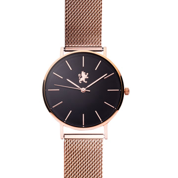 Black Rose Gold Watch with Rose Gold Mesh Bracelet - Samuel James Watches