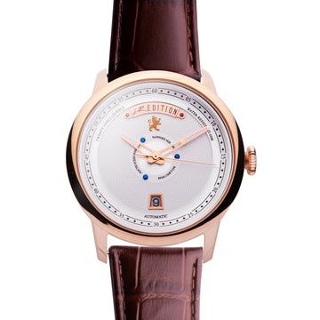 Rose Gold Automatic Watch with Brown Leather strap, Double Folding Clasp - Samuel James Watches
