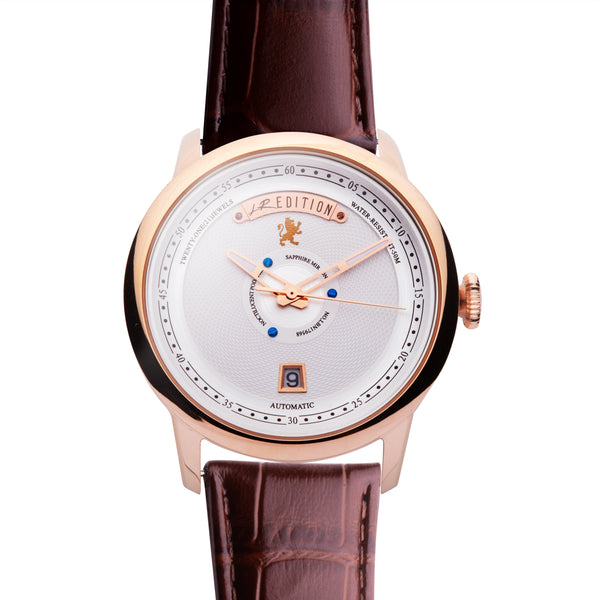 Brushed Rose Gold Stainless Steel Automatic with Brown Leather strap, Double Folding Clasp - Samuel James Watches