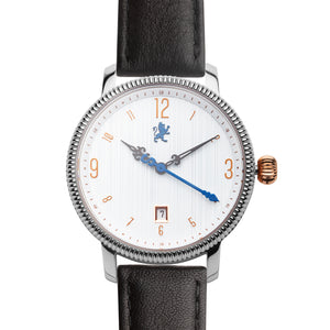 Silver Steel with Matte Black Leather - Samuel James Watches