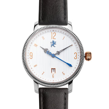 Silver & Rose Gold Watch with Matte Black Leather Strap - Samuel James Watches