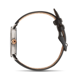 Silver & Rose Gold with Matte Black Leather Strap - Samuel James Watches
