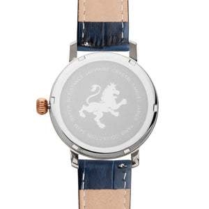 Silver & Rose Gold with Blue Alligator Leather Strap - Samuel James Watches