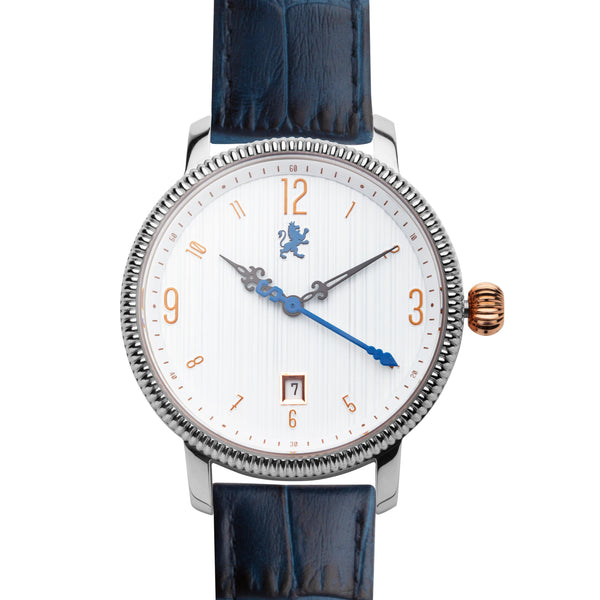 Silver Steel with Royal Blue Alligator Leather - Samuel James Watches