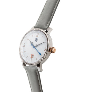 Silver & Rose Gold with Slate Grey Leather Strap - Samuel James Watches