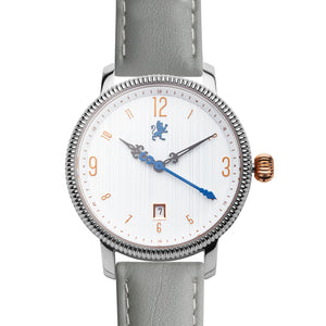 Silver Steel with Slate Grey Leather - Samuel James Watches