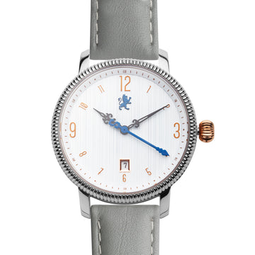 Silver & Rose Gold Watch with Slate Grey Leather Strap - Samuel James Watches