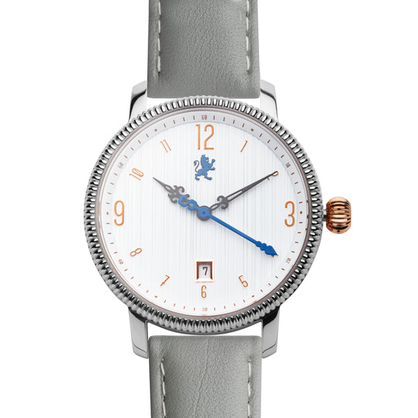 Silver ladies watch with grey leather band