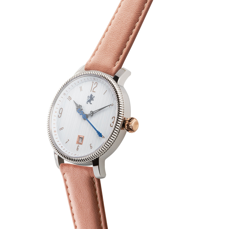 Silver & Rose Gold Watch with Peach Leather Strap - Samuel James Watches