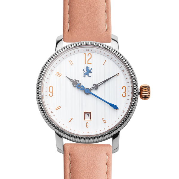 Silver & Rose Gold with Peach Leather Strap - Samuel James Watches