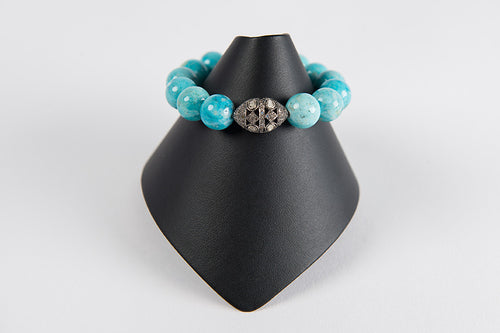 Turquoise agate with rose cut diamond bead