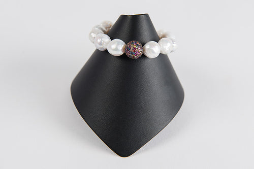 White baroque pearls with multi sapphire bead
