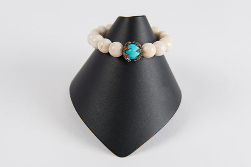 Natural agate with Sapphire caps and turquoise