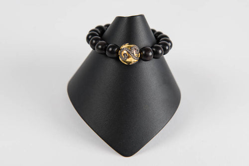 Black wood with white topaz and vermeil bead