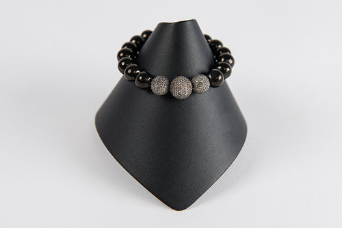 Black onyx with pave diamond beads