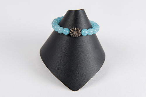 Blue chalcedony with pave diamond flower