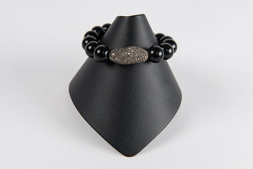 Black onyx with pave diamond bead