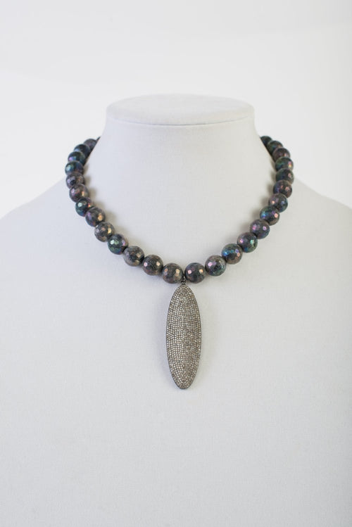 AB Labradorite with Pave Diamond Pendant