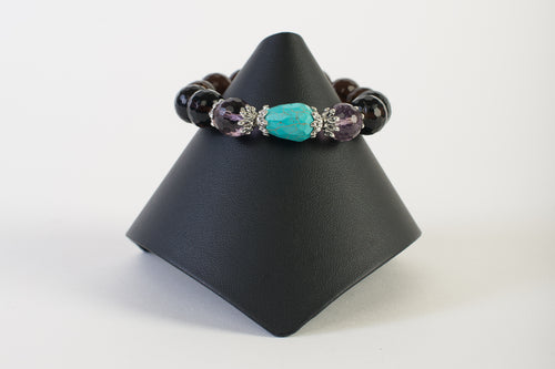 Smoky Quartz with Amethyst and Turquoise