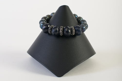 Hematite Rondelles with Labradorite and Sapphire Agate