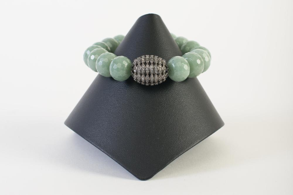Adventurine Rondelle with White Topaz Bead