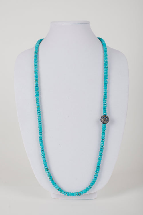 Faceted Turquoise with Pave Diamond and Sapphire Bead