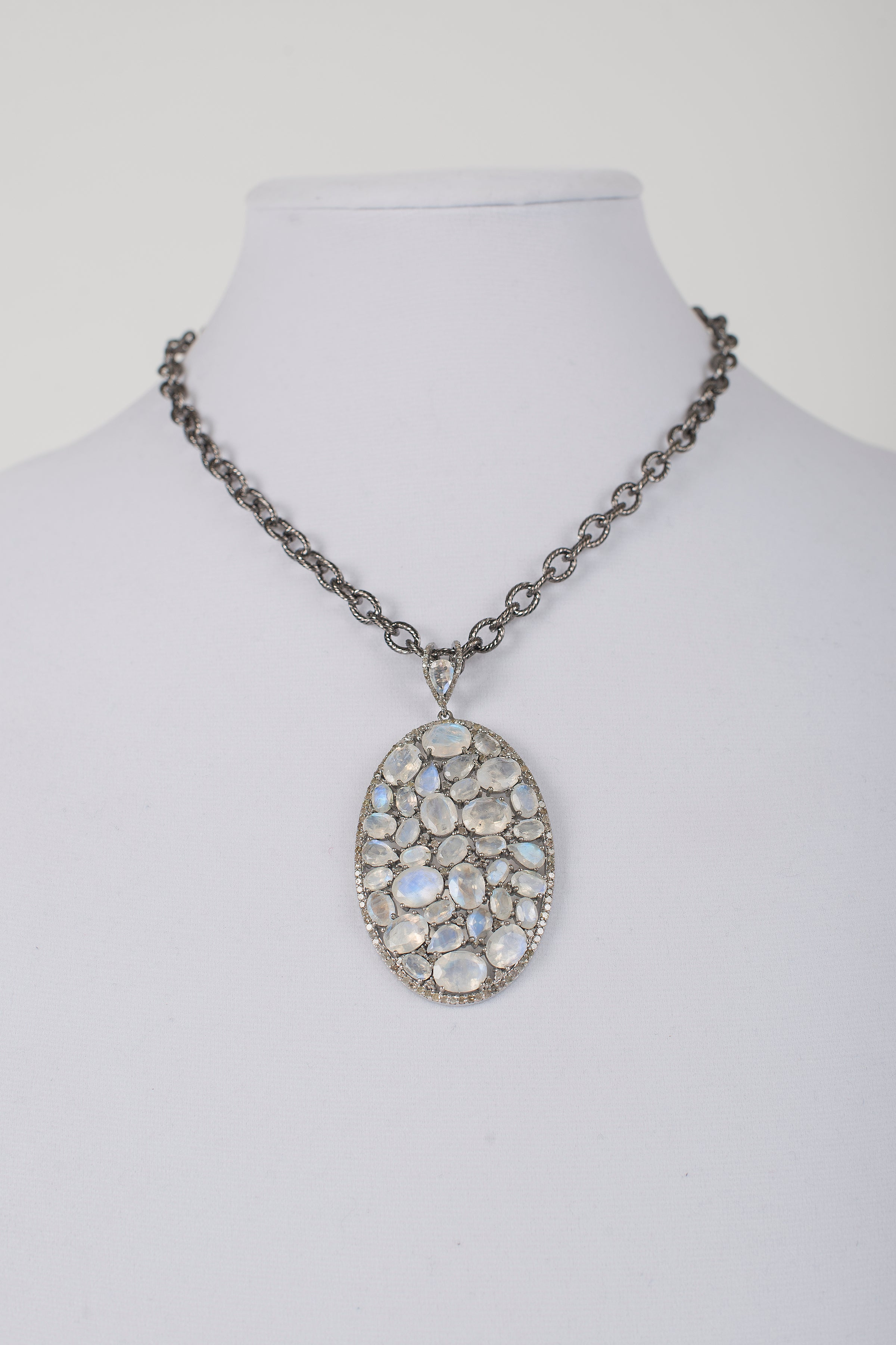 Moonstone and Pave Diamond Pendant on Brushed Metal Chain