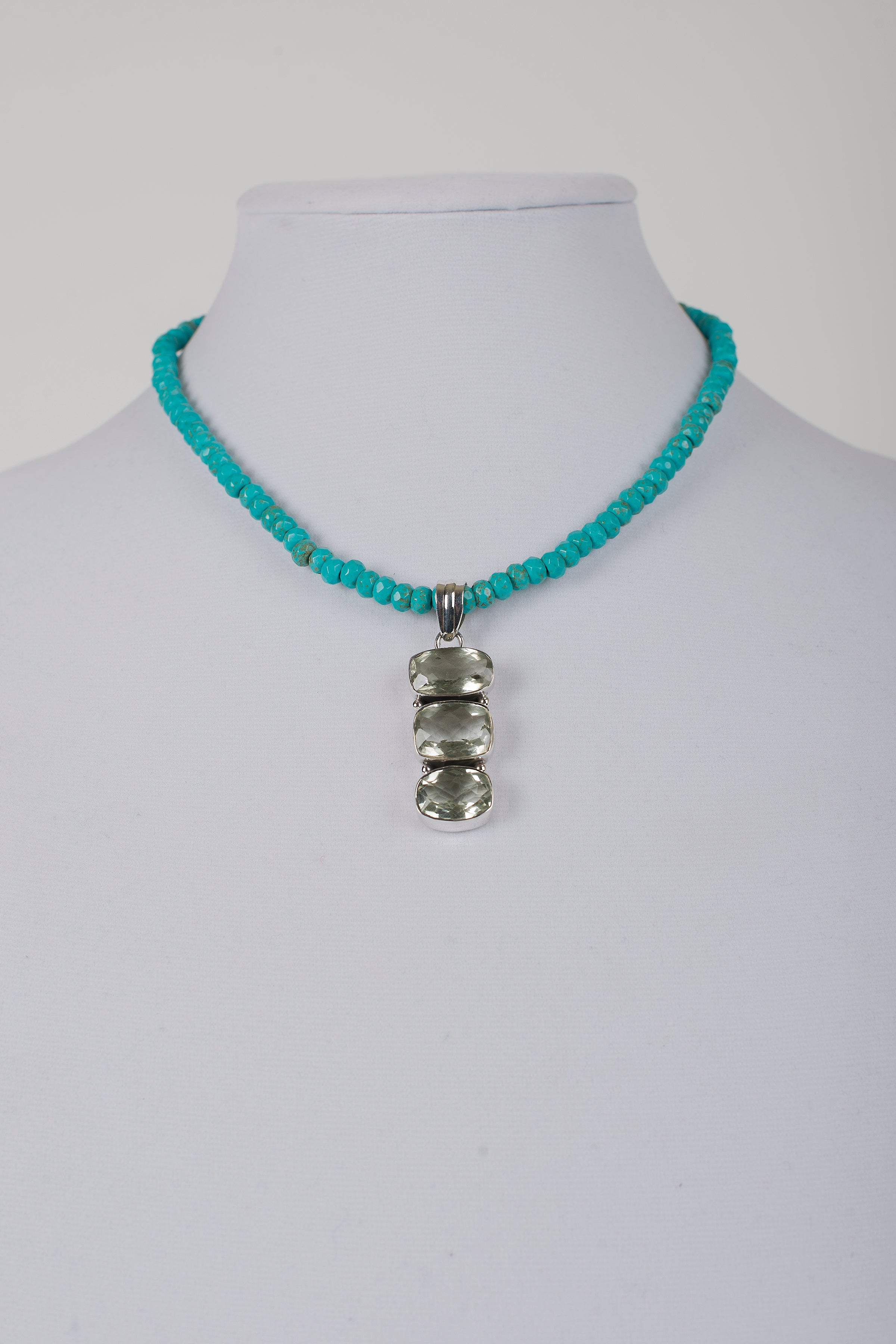 Faceted Turquoise Rondelle with Green Amethyst Pendant