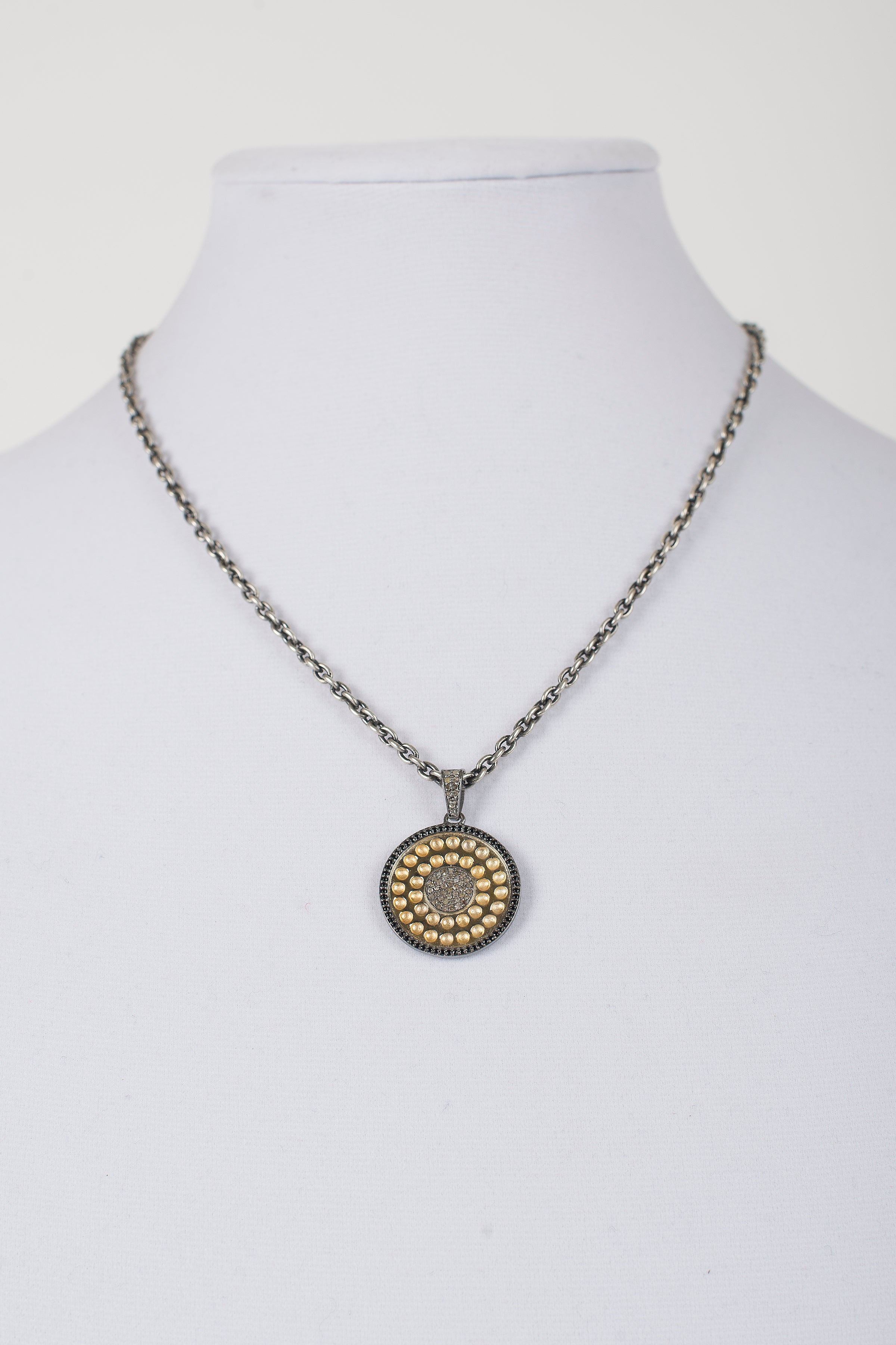 Pave diamond and vermeil disc necklace