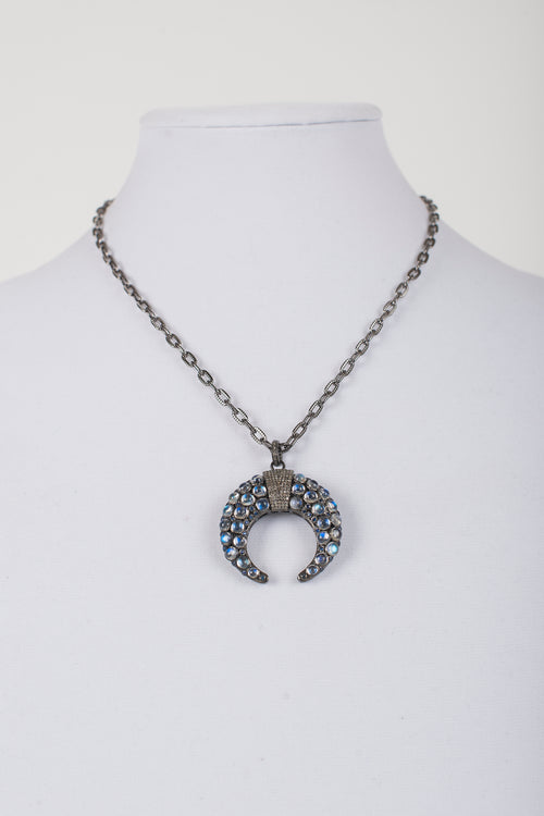 Pave Diamond and Moonstone  Pendant on  Gunmetal Chain