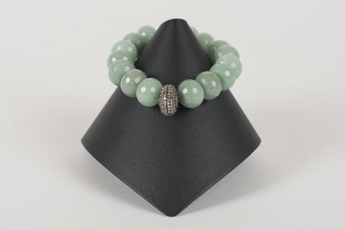 Adventurine Rondelle with Pave Diamond Bead
