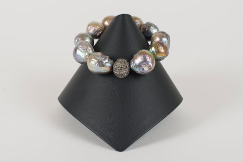 Baroque Pearl and Pave Diamond Bead