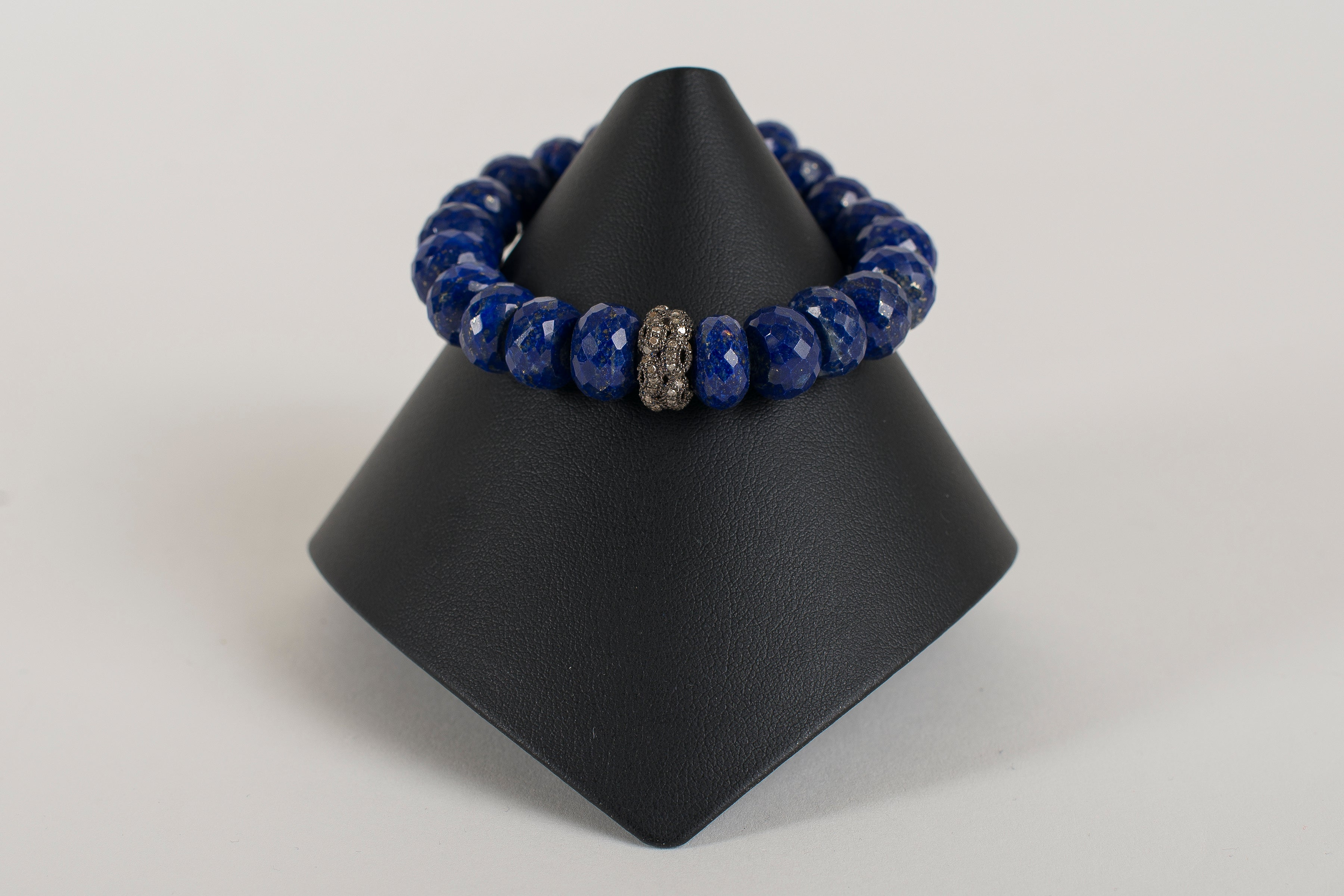 Lapis Rondelle with Pave Diamond bead