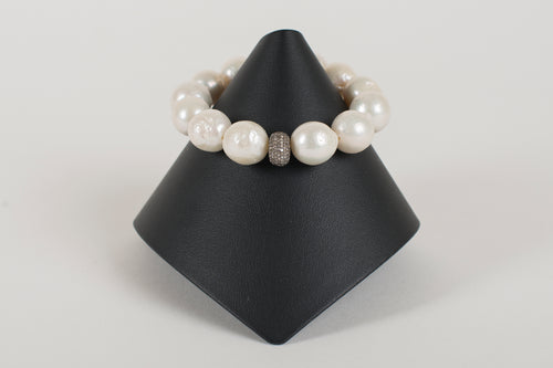 Freshwater Pearls and Pave Diamond Bead
