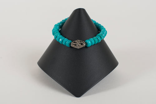 Faceted  Turquoise Rondelle with Pave Diamond Bead