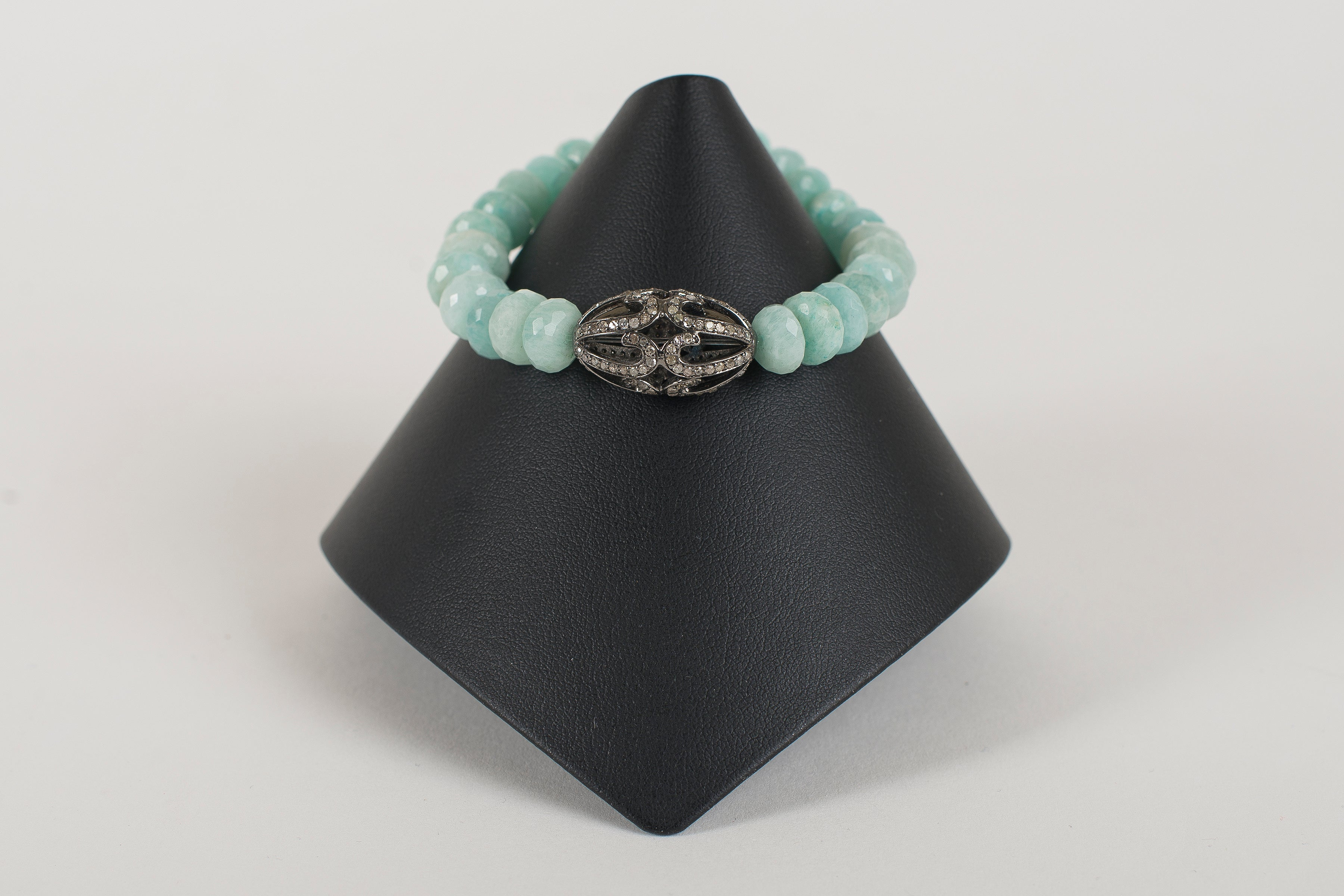 Seafoam Agate Rondelle with Pave Diamond Bead